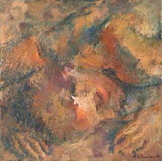 %22Small Sleeper 4%22 oil on canvas 41x41cm