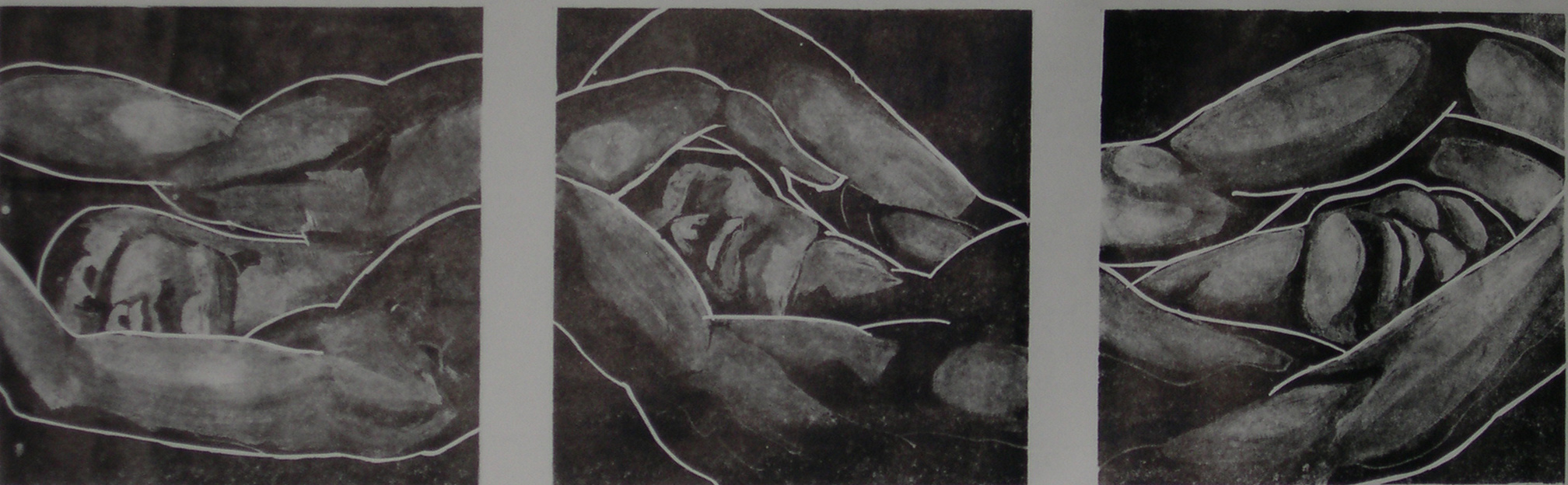 %223 Small Black Sleepers%22 lithograph  28x91cm